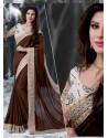 Brown Embroidered Work Designer Saree