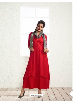 Observable Red Rayon Printed Kurti