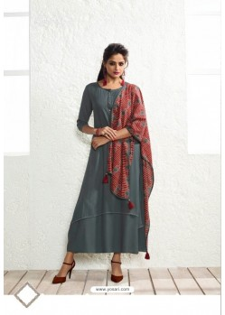Excellent Dull Grey Rayon Printed Kurti
