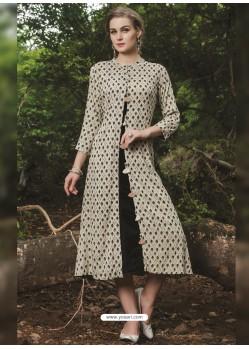 Stunning Taupe Cotton Printed Kurti