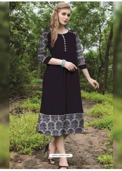 Sensational Black Cotton Printed Kurti