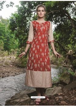 Spectacular Red Cotton Printed Kurti