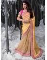 Yellow Embroidered Work Designer Saree