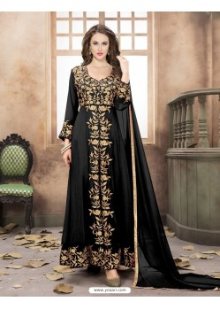 Fabulous Black Georgette Embroidered Floor Length Suit