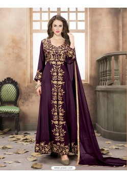 Purple Georgette Embroidered Floor Length Suit