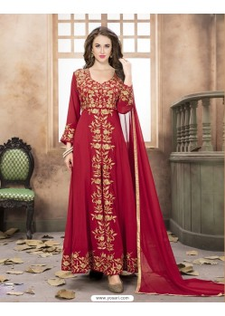 Red Georgette Embroidered Floor Length Suit