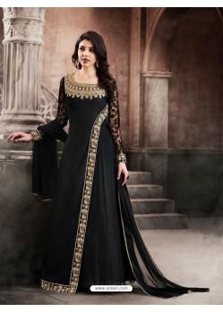Faux Georgette Black Floor Length Suit