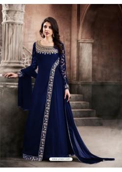 Faux Georgette Navy Blue Floor Length Suit
