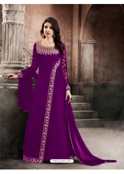 Faux Georgette Purple Floor Length Suit