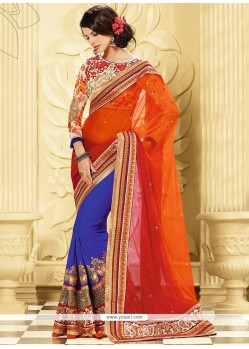 Blue And Orange Pure Georgette Designer Saree