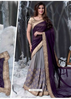 Purple And Grey Embroidered Work Designer Saree
