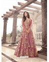 Stunning Light Pink Net Floor Length Suit