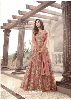 Sensational Peach Net Floor Length Suit