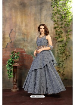 Spectacular Grey Jacquard Floor Length Suit