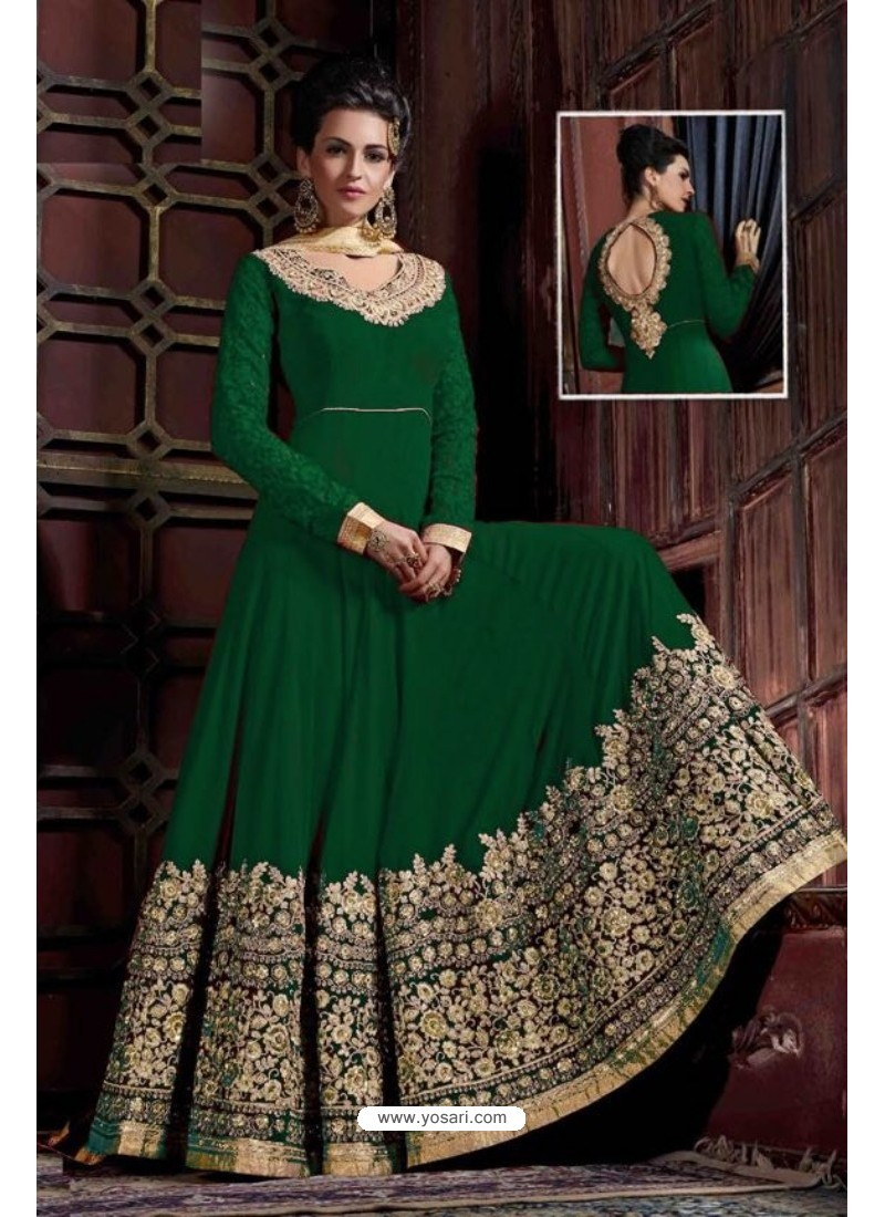 Wonderful Green Embroidered Floor Length Suit