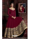 Mind Blowing Maroon Embroidered Floor Length Suit
