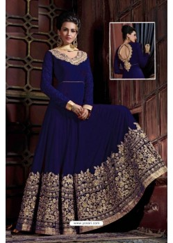 Attractive Blue Embroidered Floor Length Suit