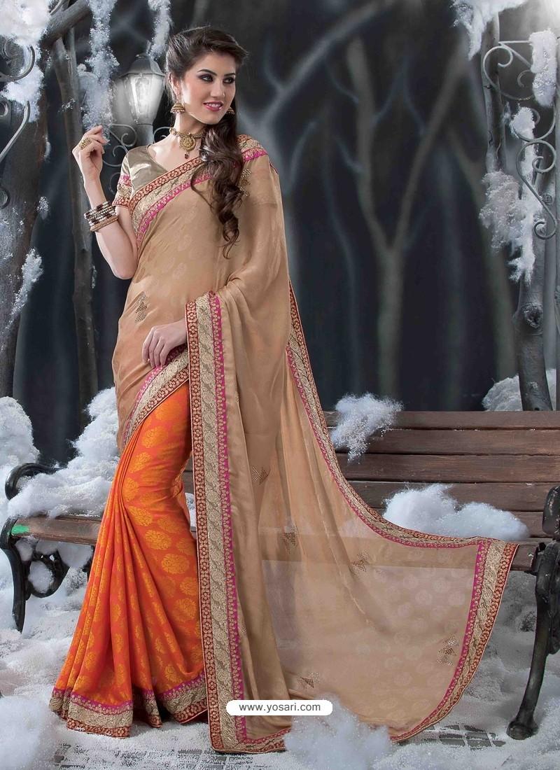 Orange Embroidered Work Designer Saree