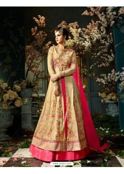 Pleasing Cream Taffeta Silk Floor Length Suit