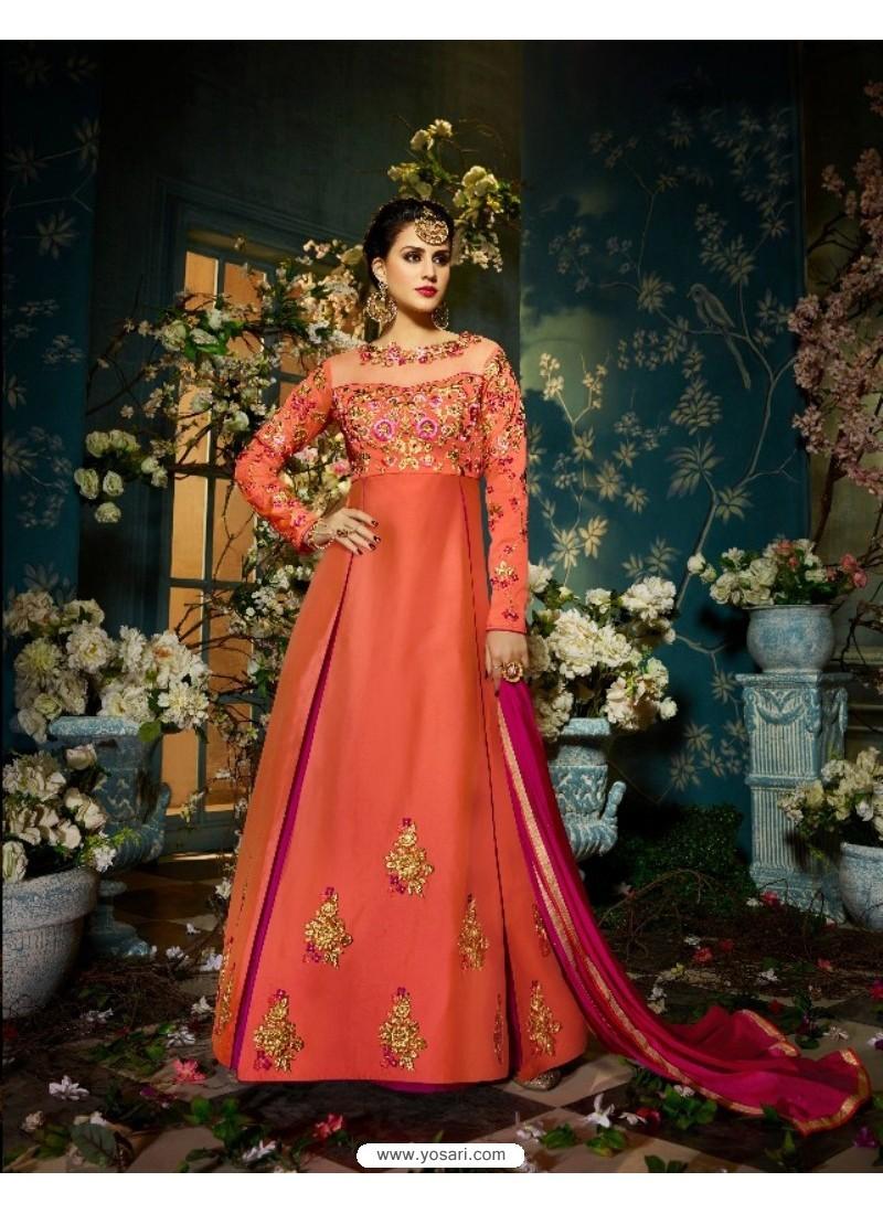 Heavenly Peach Taffeta Silk Floor Length Suit