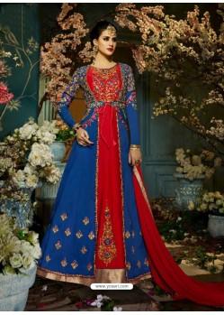 Glamorous Blue Taffeta Silk Floor Length Suit