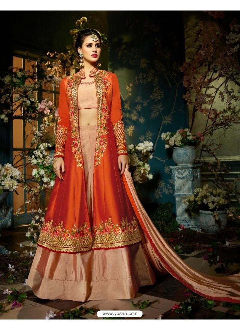 Graceful Orange Taffeta Silk Floor Length Suit