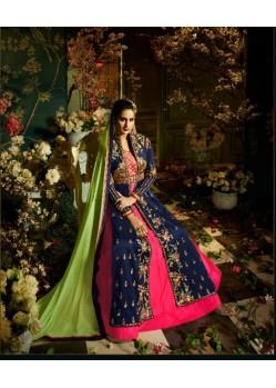 Elegant Navy Blue Taffeta Silk Floor Length Suit