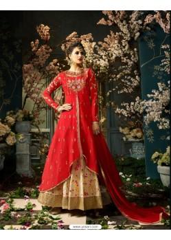 Enhanting Red Taffeta Silk Floor Length Suit