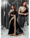 Black Embroidered Work Designer Saree