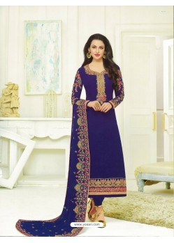 Royal Blue Georgette Embroidered Suit
