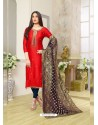 Red Silk Cotton Embroidered Suit