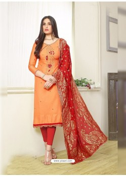 Light Orange Silk Cotton Embroidered Suit