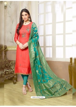 Peach Silk Cotton Embroidered Suit