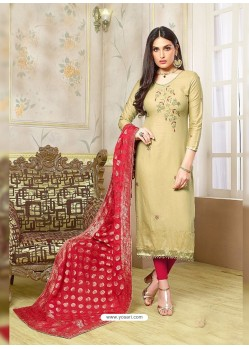 Olive Green Silk Cotton Embroidered Suit