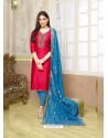 Crimson Silk Cotton Embroidered Suit