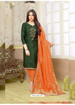 Mehendi Silk Cotton Embroidered Suit