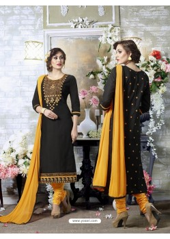 Splendid Black Cotton Printed Suit