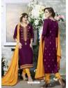 Admiring Purple Cotton Printed Suit