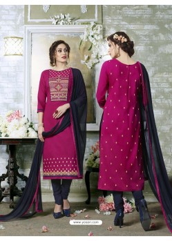 Magenta Cotton Printed Suit