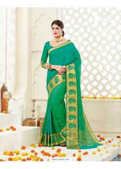 Latest Jade Green Bonga Silk Saree