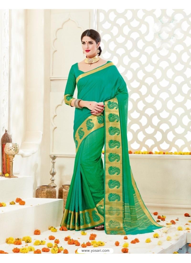 Latest Jade Green Bonga Silk Saree