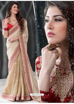 Red And Cream Embroidered Work Designer Saree