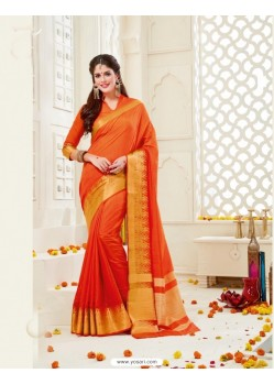 Lustrous Orange Bonga Silk Saree
