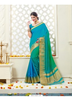 Flawless Blue Bonga Silk Saree