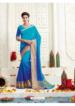 Competent Blue Bonga Silk Saree