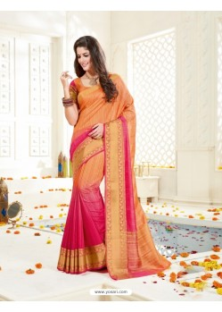 Marvelous Light Orange Bonga Silk Saree