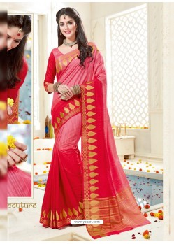 Gorgeous Peach Bonga Silk Saree