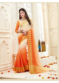 Incredible Orange Bonga Silk Saree