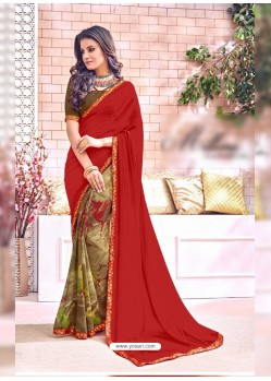 Wine Georgette Printed Saree