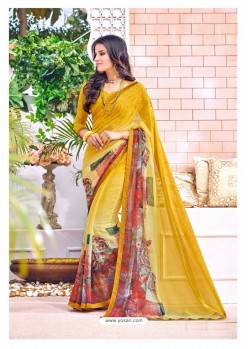 Yellow Georgette Printed Saree